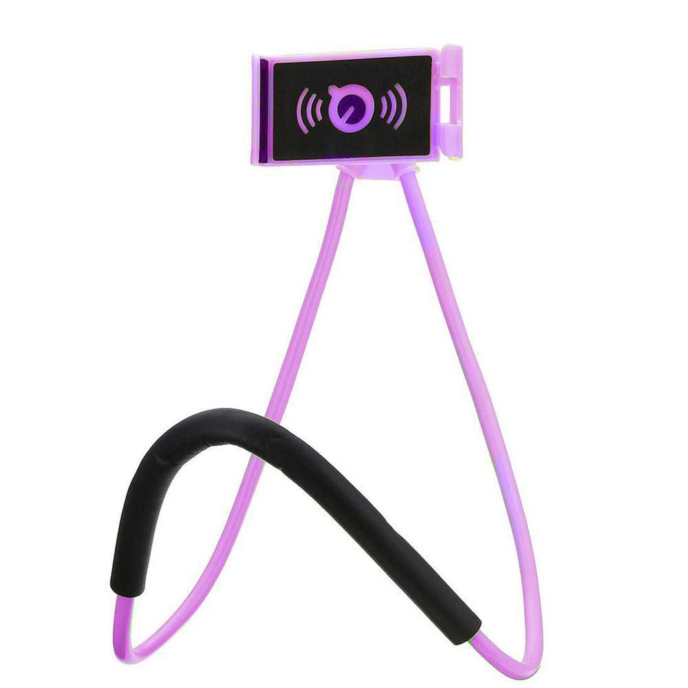 Smartphone Lazy Neck Mount Desktop Bed Car Selfie Bracket Hanging for Cellphone - PURPLE