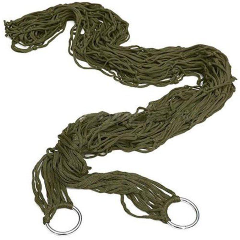 Portable Mesh Swing Hammock with Durable Nylon Material for Outdoor Camping - ARMY GREEN