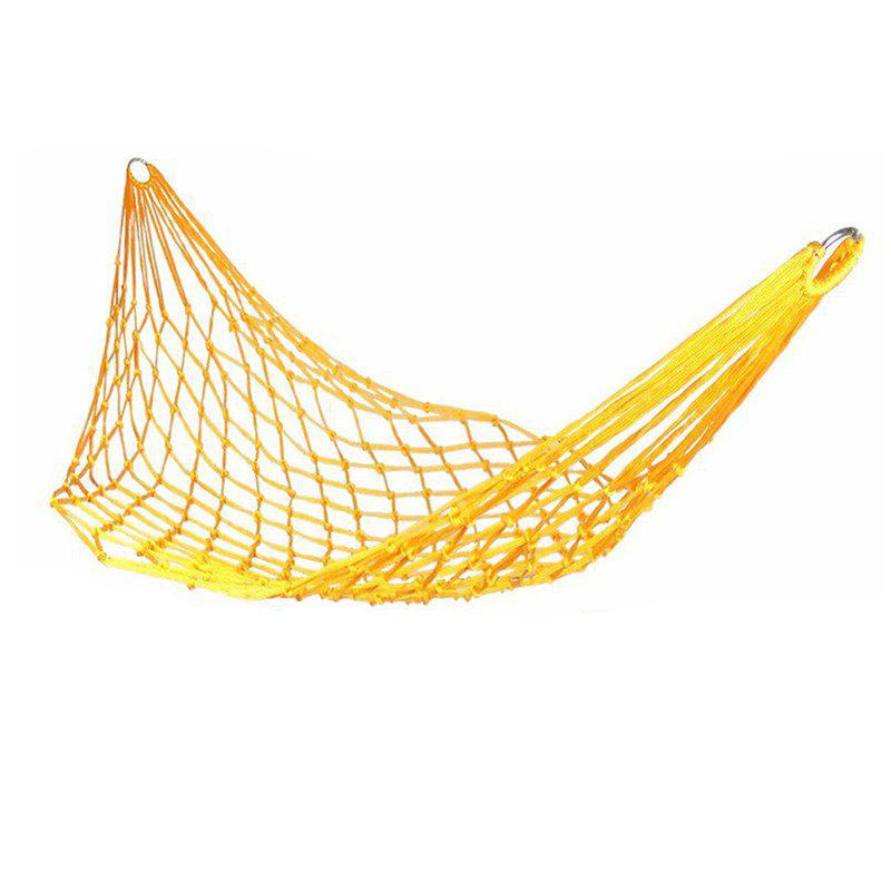 Portable Mesh Swing Hammock with Durable Nylon Material for Outdoor Camping - YELLOW