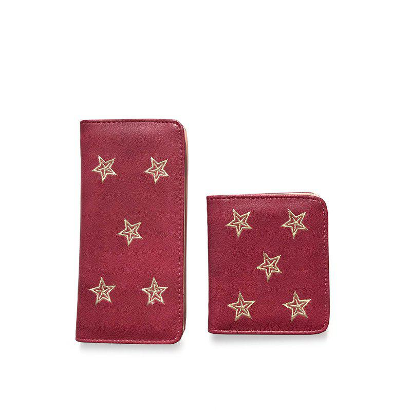 2PCS      New Fashion Embroidery Short Wallet - BURGUNDY