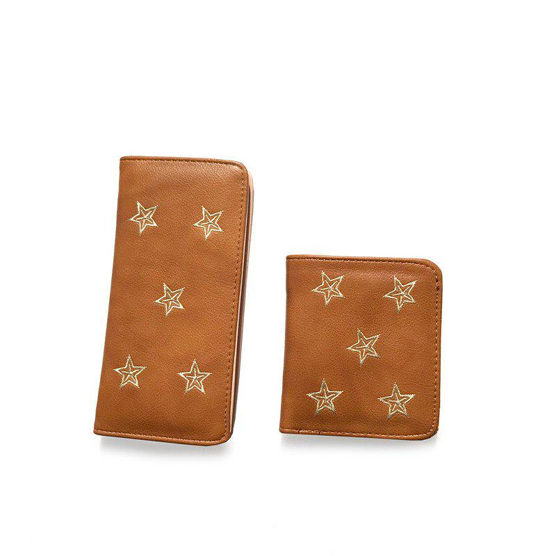 2PCS      New Fashion Embroidery Short Wallet - DEEP BROWN