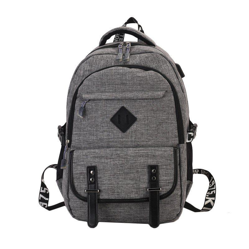Backpack Men's High School Student Book College Travel Computer Bag - BATTLESHIP GRAY