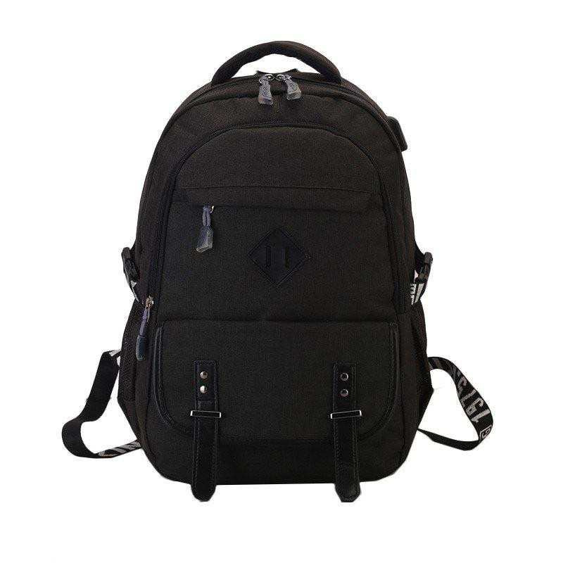 Backpack Men's High School Student Book College Travel Computer Bag - BLACK