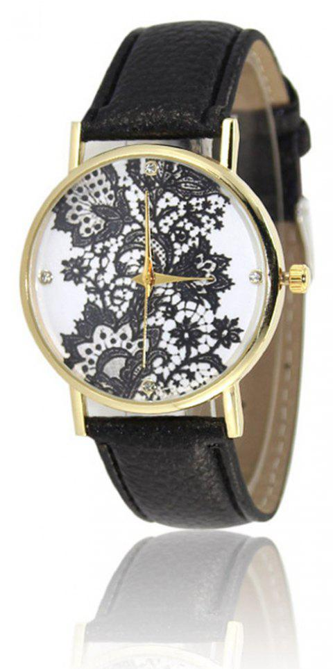 Fashion Ladies Lace Leather Band Quartz Watch - BLACK