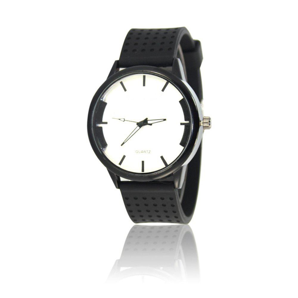 Simple Creative Personality Sports Casual Silicone Belt Quartz Watch - WHITE