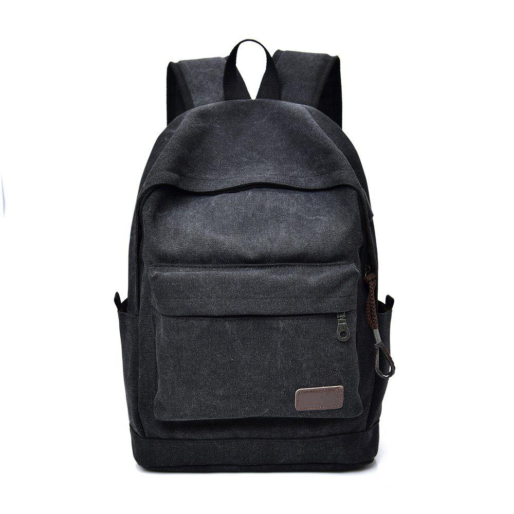 Canvas Simple Wild Large Capacity Outdoor Travel Backpack - BLACK