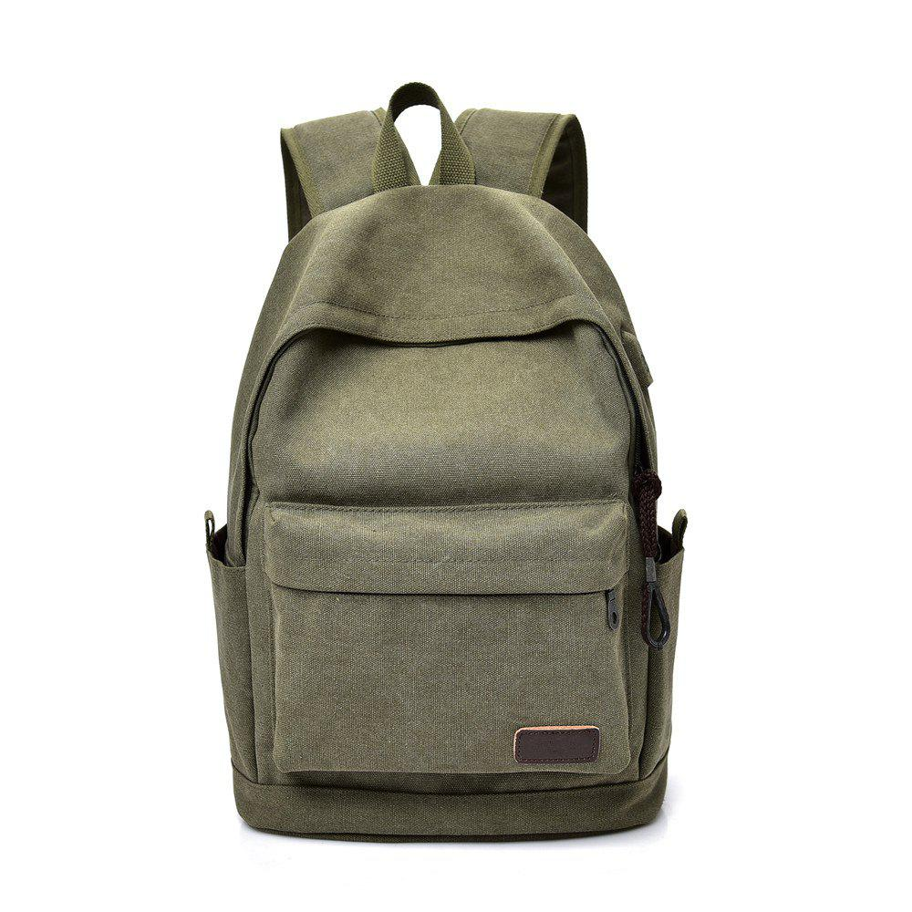Canvas Simple Wild Large Capacity Outdoor Travel Backpack - JUNGLE GREEN