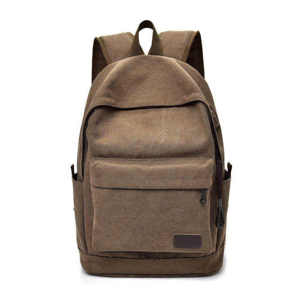 Canvas Simple Wild Large Capacity Outdoor Travel Backpack - COFFEE