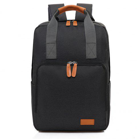 Canvas Fashion Simple High-Capacity Travel Computer Backpack - BLACK