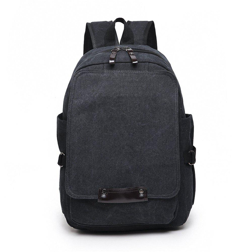 Fashion Simple and Large Capacity Wild Outdoor Canvas Travel Backpack Tide - BLACK