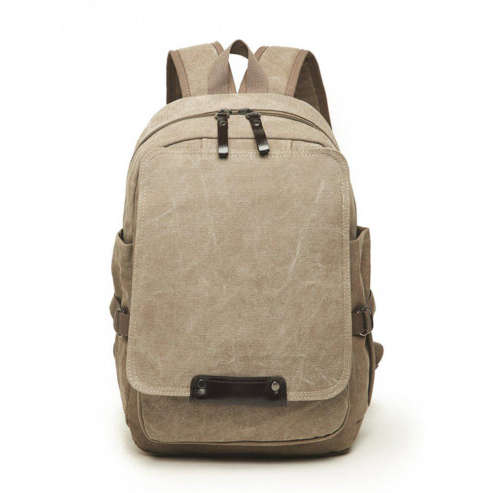 Fashion Simple and Large Capacity Wild Outdoor Canvas Travel Backpack Tide - TIGER ORANGE