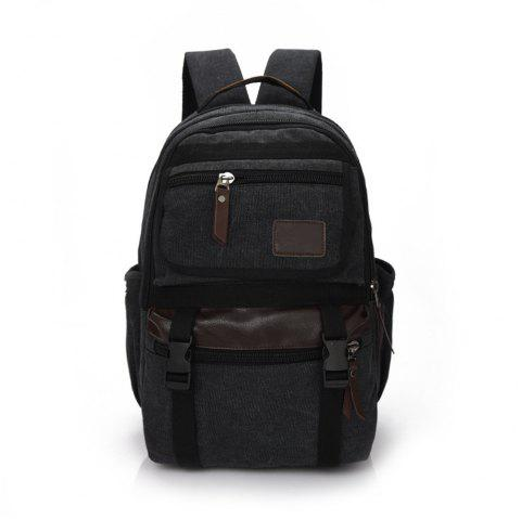 Large Capacity Fashion Simple Wild Outdoor Canvas Travel Backpack Tide - BLACK
