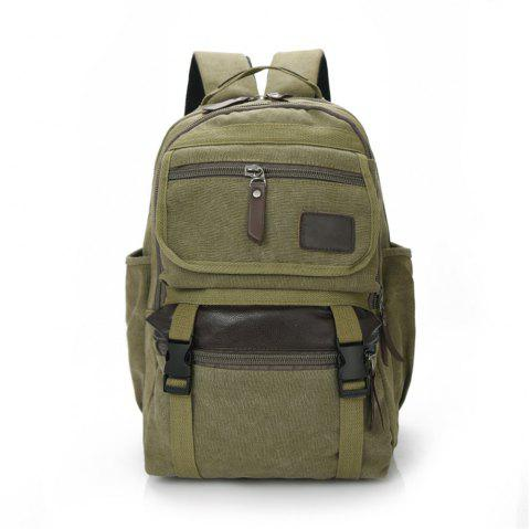 Large Capacity Fashion Simple Wild Outdoor Canvas Travel Backpack Tide - JUNGLE GREEN