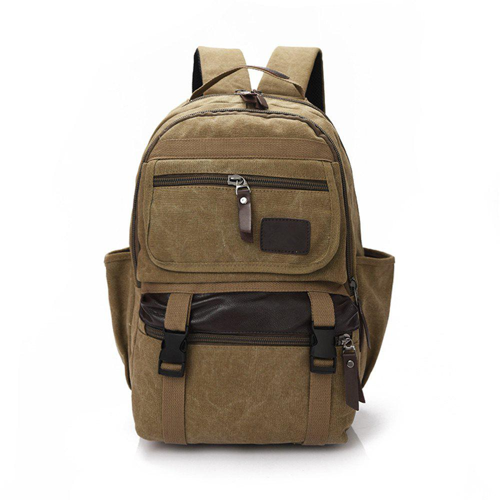 Large Capacity Fashion Simple Wild Outdoor Canvas Travel Backpack Tide - TIGER ORANGE