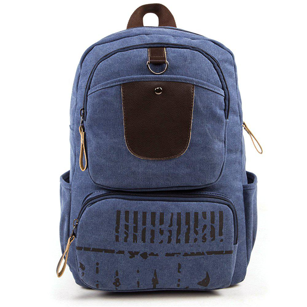 High-Capacity Fashion Simple Wild Canvas Travel Backpack - BLUE