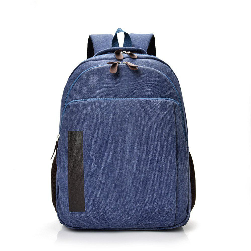 Canvas Fashion Simple Travel Backpack - BLUE