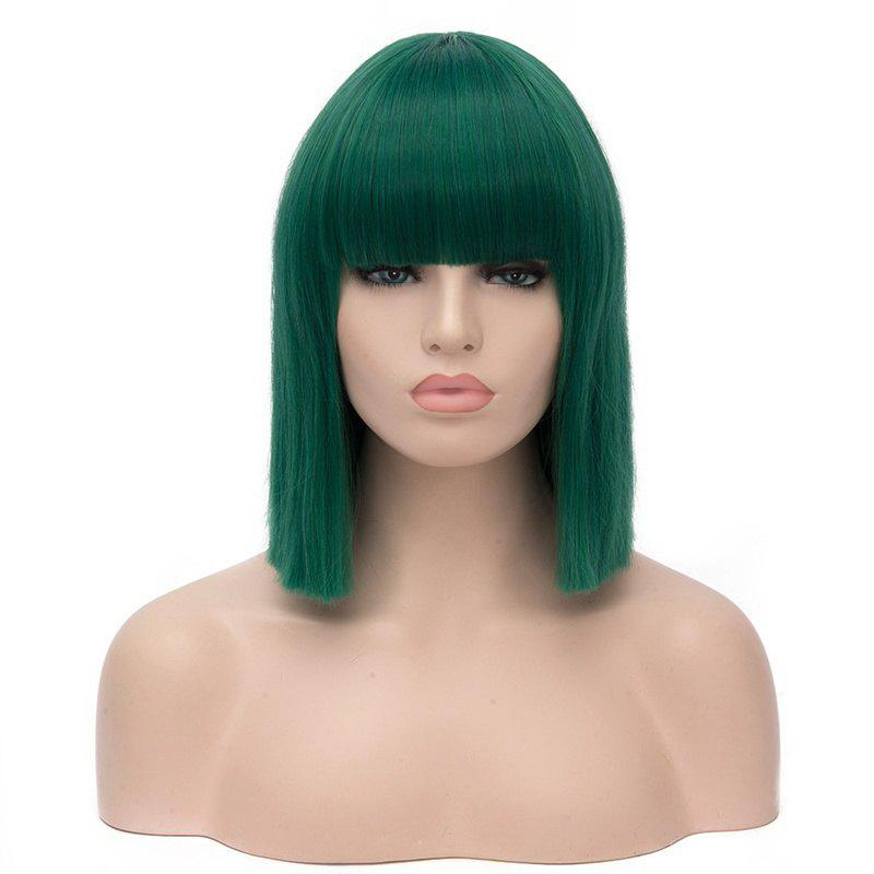 Women Long Green Bob Wigs with Bangs High Temperature Cosplay Party 13 inch free shipping short curly white silver wig with bangs high temperature wire new bob style synthetic wigs for women