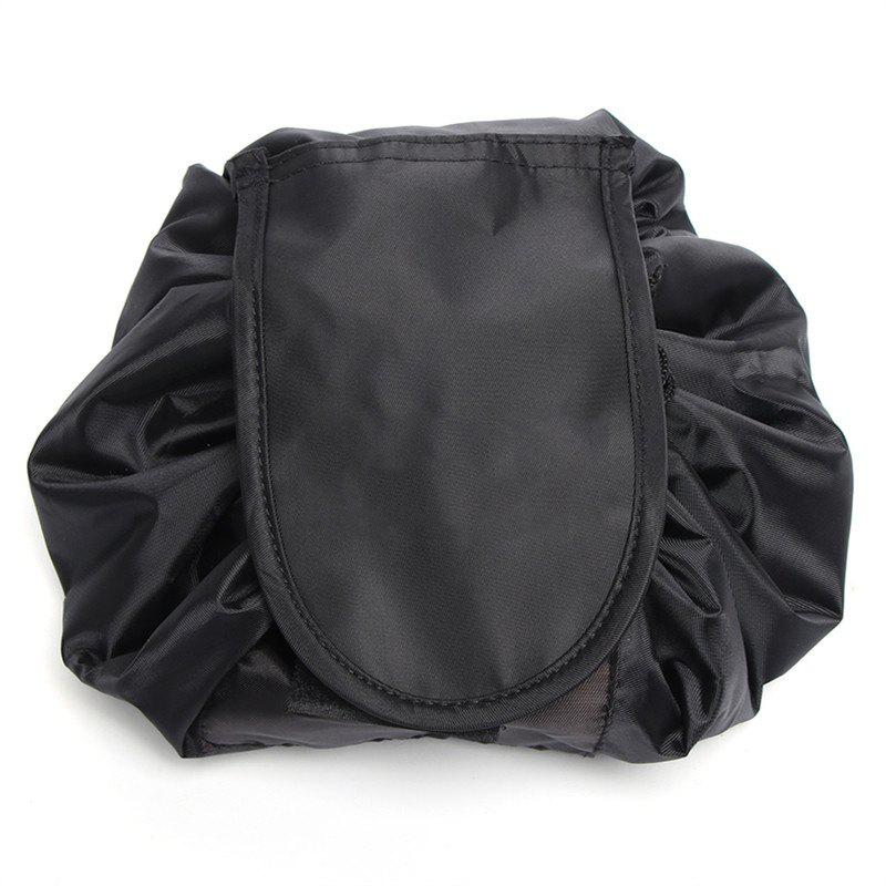 Portable Makeup Drawstring Storage Magic Travel Pouch Cosmetic Bag - BLACK