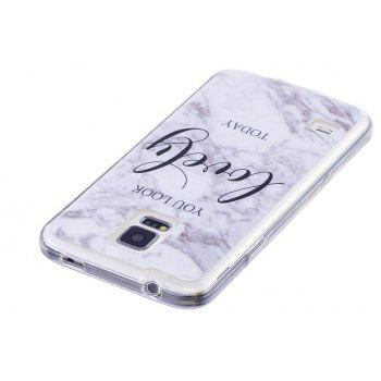 Ultra Thin Lovely Characters Fashion Marble Soft TPU Case for Samsung Galaxy S5 - WHITE