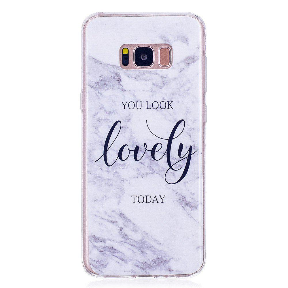 Ultra Thin Lovely Characters Fashion Marble TPU Case for Samsung Galaxy S8 Plus - WHITE
