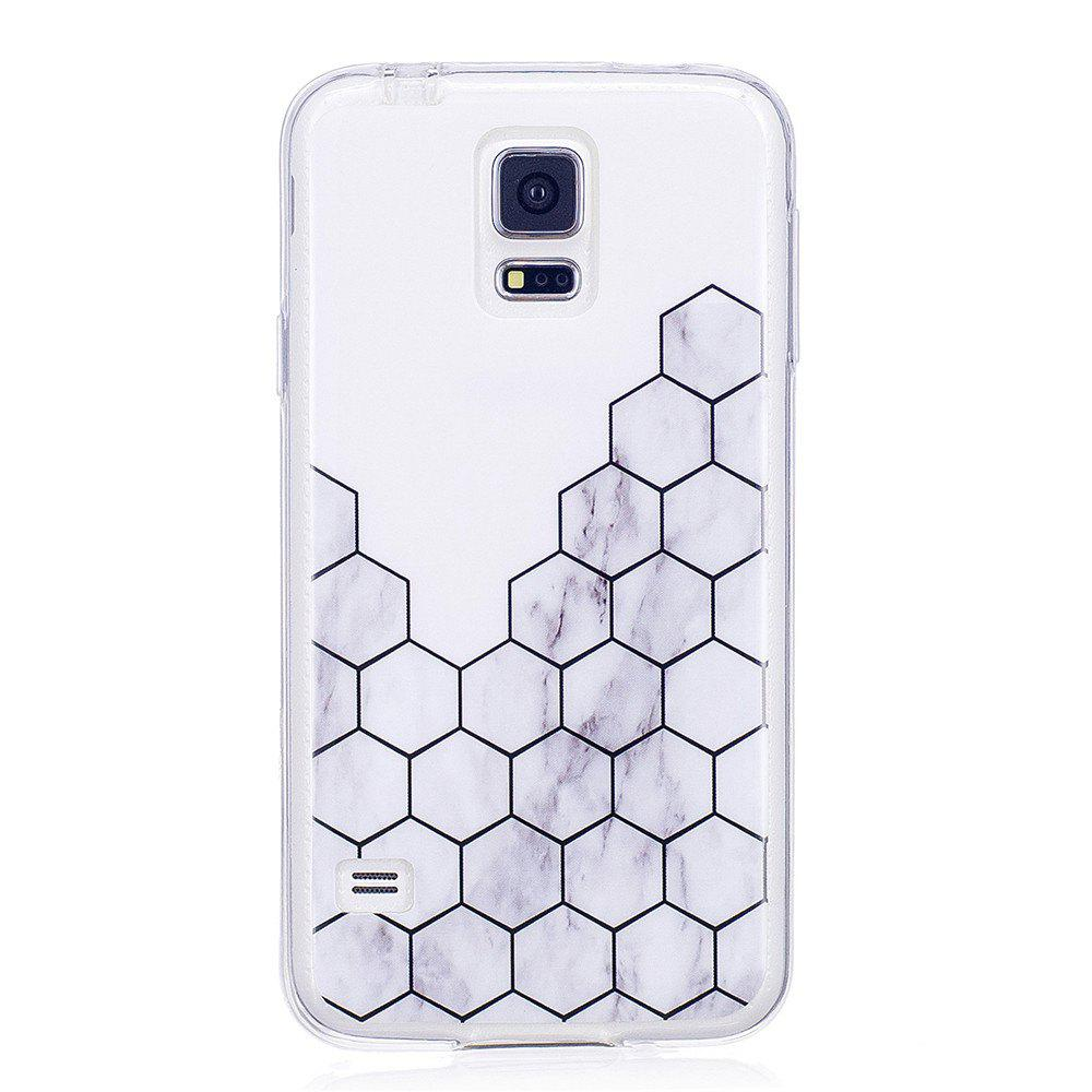 Ultra Thin Plaid Fashion Marble Soft TPU Phone Case for Samsung Galaxy S5 - WHITE