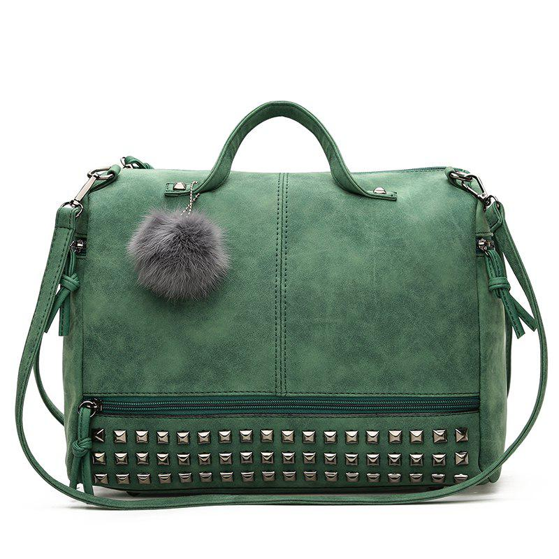 Matte Fur Ball Player Shoulder Bag - GREEN