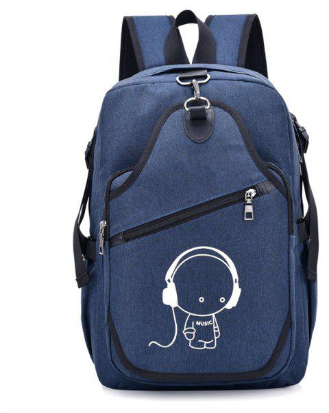 Luminous USB Charging Large Capacity Splash-Proof Backpack - BLUE
