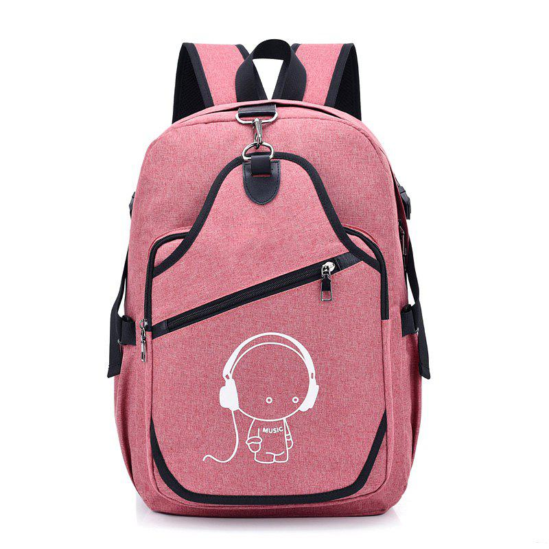 Luminous USB Charging Large Capacity Splash-Proof Backpack - PINK