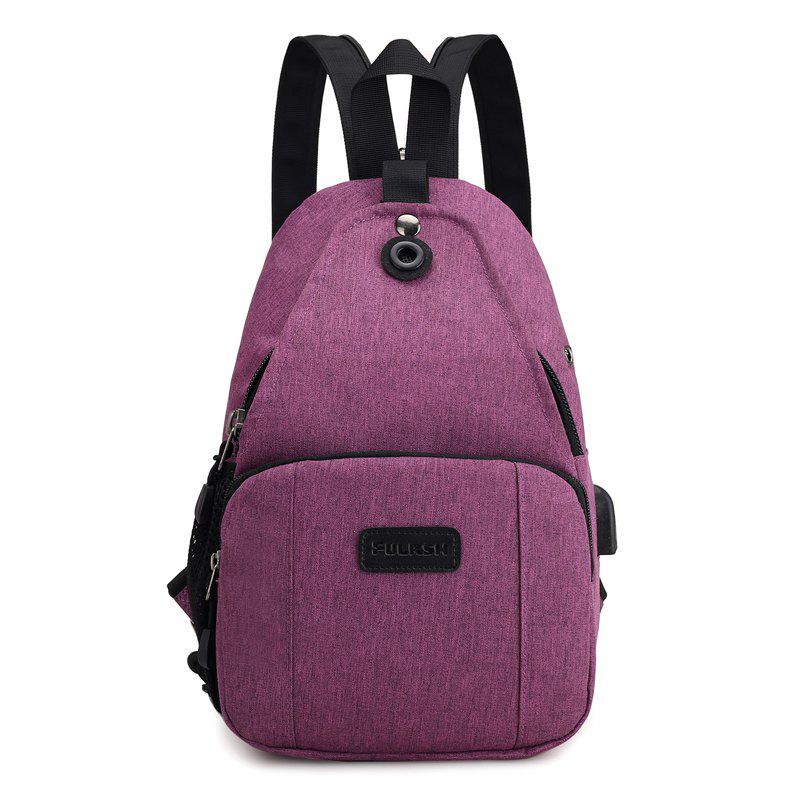 Backpacks USB Charging Men Laptop Travel Bags Fashion Male - PLUM