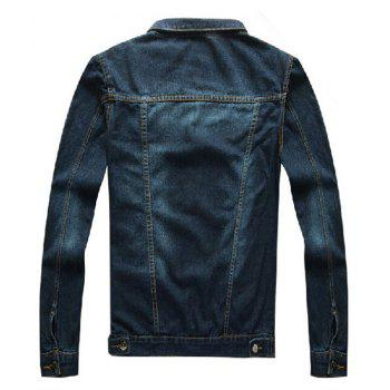 New Men's Solid Color Bombless Denim Jacket - MIDNIGHT BLUE XL