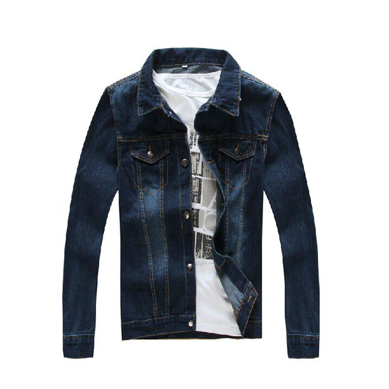 New Men's Solid Color Bombless Denim Jacket - MIDNIGHT BLUE L