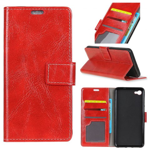 Cover Case For Motorola Moto X4 Genuine Quality Vintage Style Crazy Horse Pattern Flip PU Leather Wallet - RED