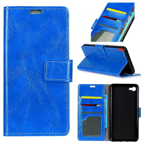 Cover Case For Motorola Moto X4 Genuine Quality Vintage Style Crazy Horse Pattern Flip PU Leather Wallet - BLUE