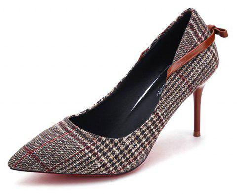 Spring New Pointed High Heel Suede Plaid Shoes - BROWN 34