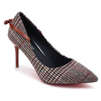 Spring New Pointed High Heel Suede Plaid Shoes - BROWN 35