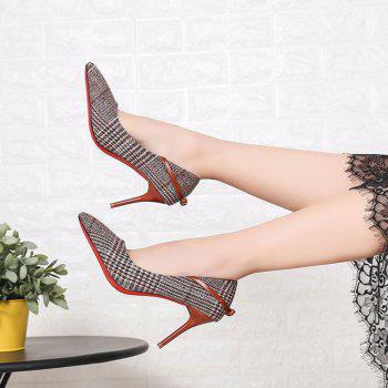 Spring New Pointed High Heel Suede Plaid Shoes - BROWN 37