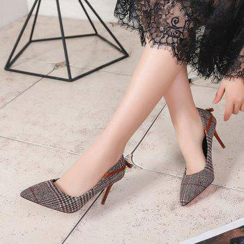 Spring New Pointed High Heel Suede Plaid Shoes - BROWN 39