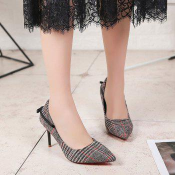 Spring New Pointed High Heel Suede Plaid Shoes - BLACK 37