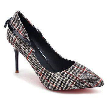 Spring New Pointed High Heel Suede Plaid Shoes - BLACK 39
