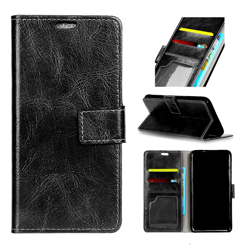 Cover Case For Motorola Moto X4 Genuine Quality Retro Style Crazy Horse Pattern Flip PU Leather Wallet - BLACK