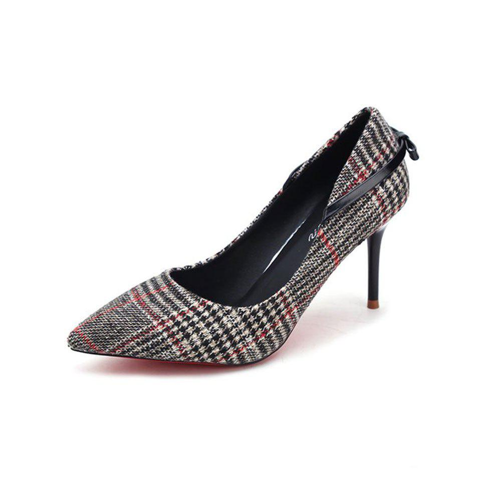 Spring New Pointed High Heel Suede Plaid Shoes - BLACK 35