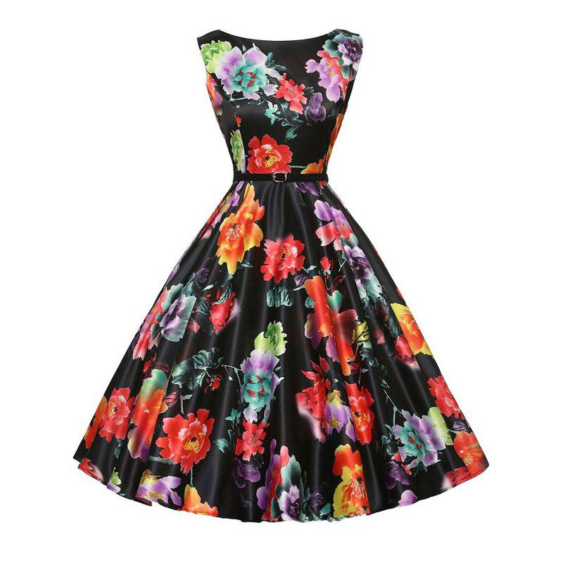 Vintage Flower Print Dress for Women - BLACK M