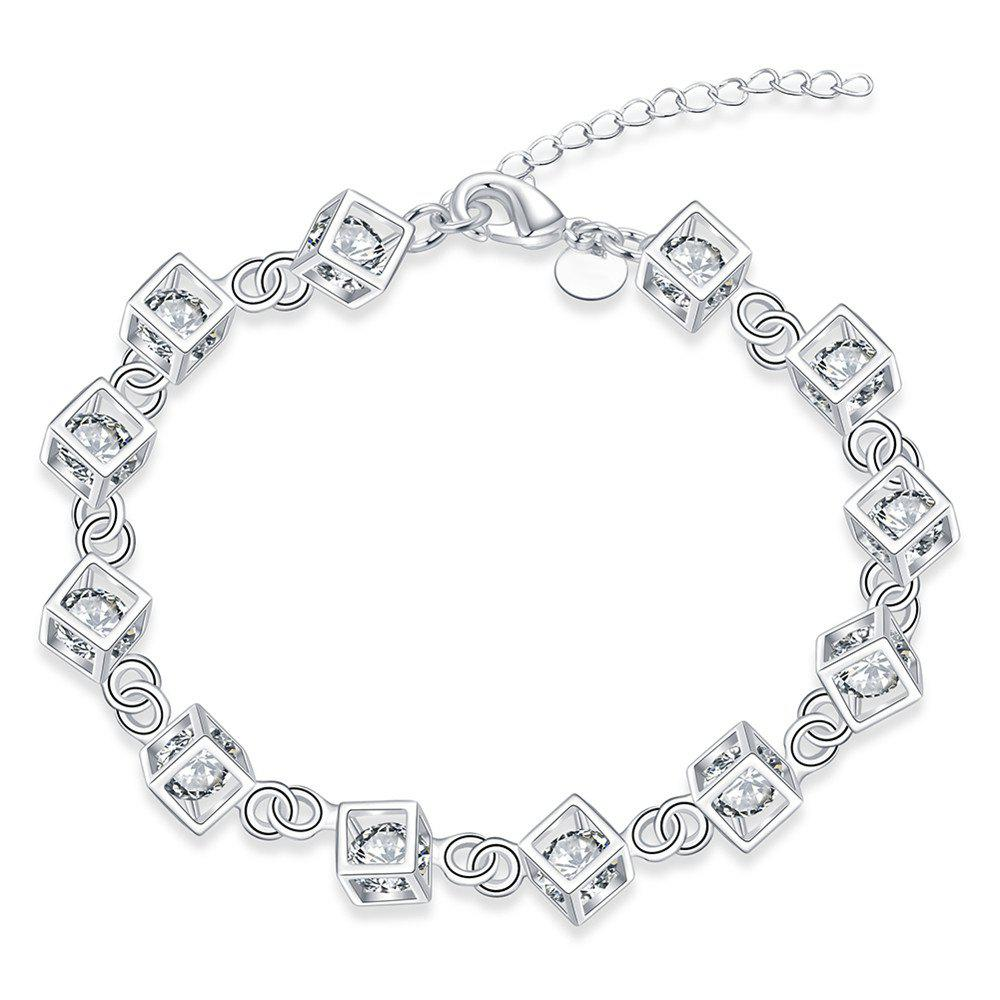Romantic Alloy Rhinestone Chain Bracelet Charm Jewelry - TRANSPARENT