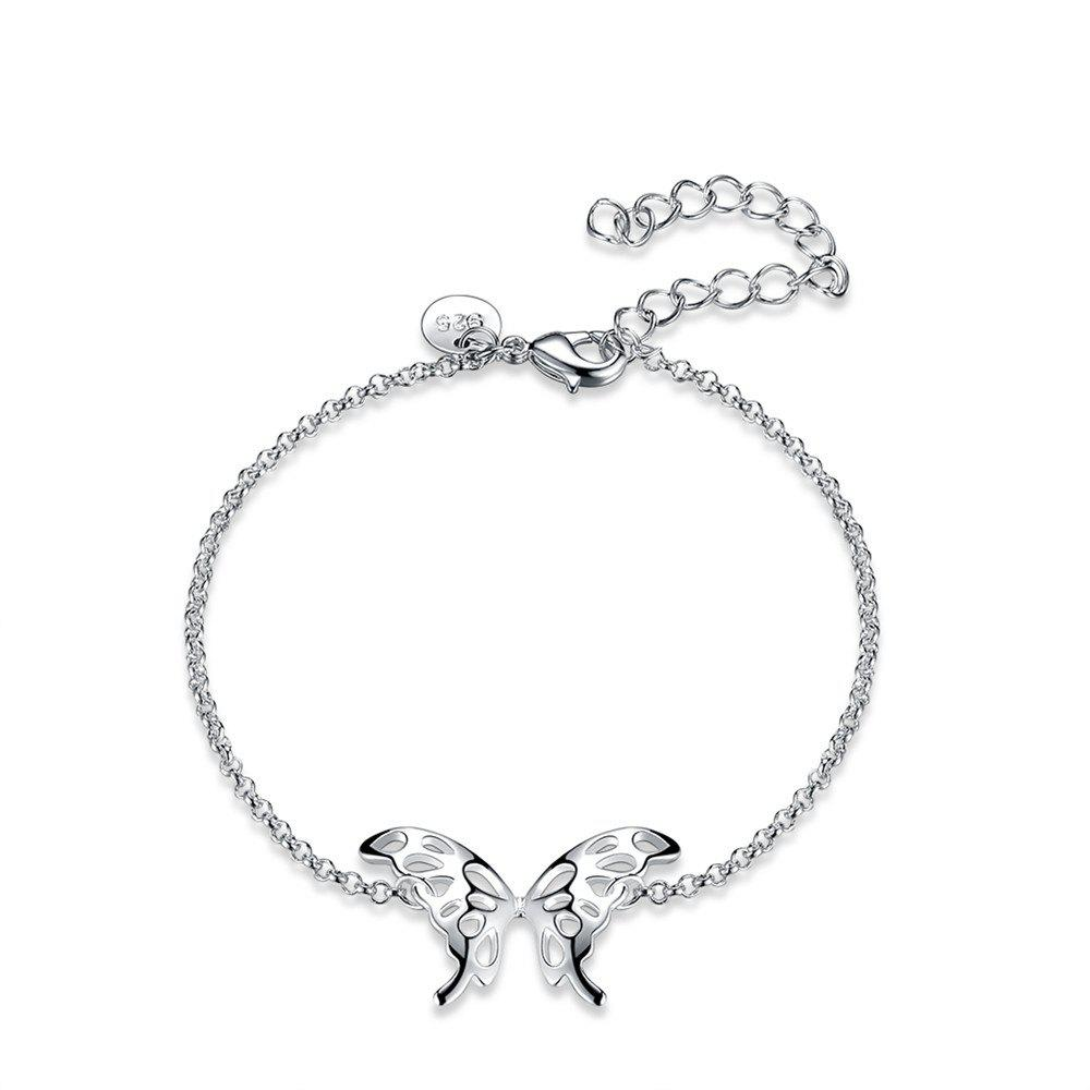 Fashion Adjustable Butterfly Alloy Chain Bracelet Charm Jewelry - SILVER
