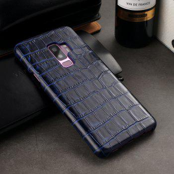 For Samsung Galaxy S9 Plus Case 3D Surface Genuine Leather Bumper Back Cover - BLUE
