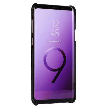 For Samsung Galaxy S9 Plus Case 3D Surface Genuine Leather Bumper Back Cover - BLACK