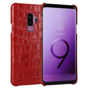 For Samsung Galaxy S9 Plus Case 3D Surface Genuine Leather Bumper Back Cover - RED