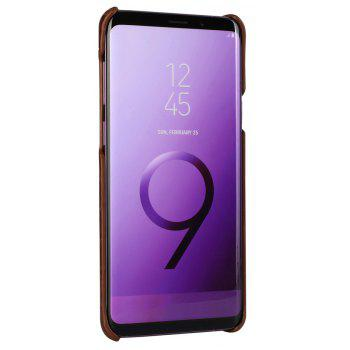 For Samsung Galaxy S9 Plus Case 3D Surface Genuine Leather Bumper Back Cover - BROWN