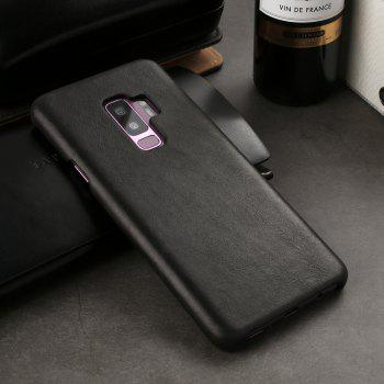 For Samsung Galaxy S9 Bumper Case Frosted Genuine Leather Back Cover - BLACK