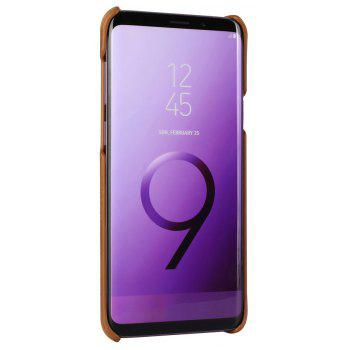 For Samsung Galaxy S9 Bumper Case Frosted Genuine Leather Back Cover - BROWN